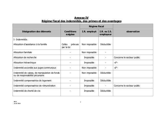 DGI Avril 2011 1 Annexe IV Régime fiscal des indemnités, des primes et des avantages Régime fiscal Désignation des élément...