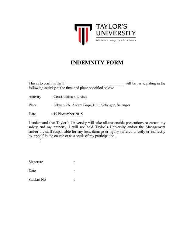 INDEMNITY FORM This Is To Confirm That I ______ Will Be Participating In  The Following Activity  Indemnity Form Template