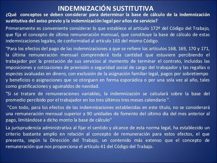¿Qué  conceptos se deben considerar para determinar la base de cálculo de la indemnización sustitutiva del aviso previo y ...