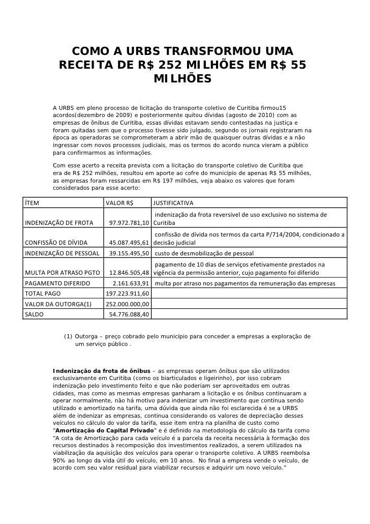 COMO A URBS TRANSFORMOU UMA           RECEITA DE R$ 252 MILHÕES EM R$ 55                        MILHÕES         A URBS em ...