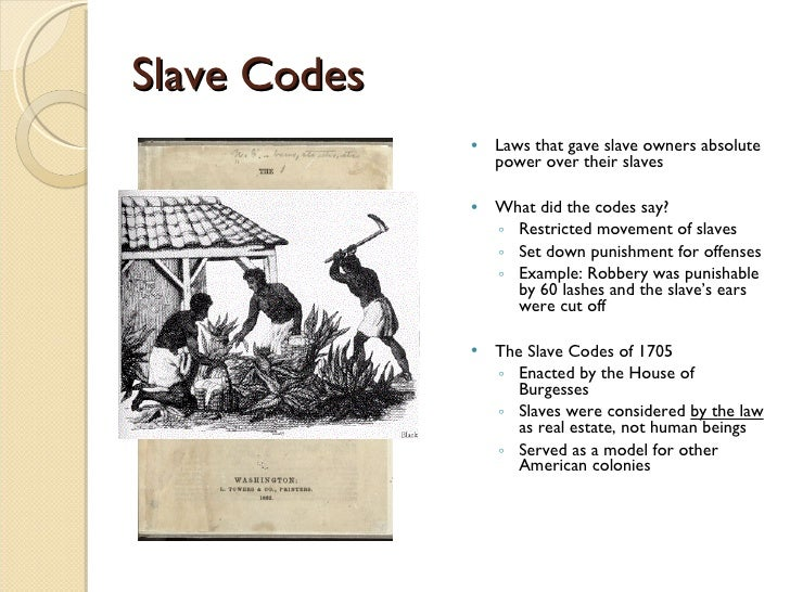 french code noir and virginia slave code of 1705