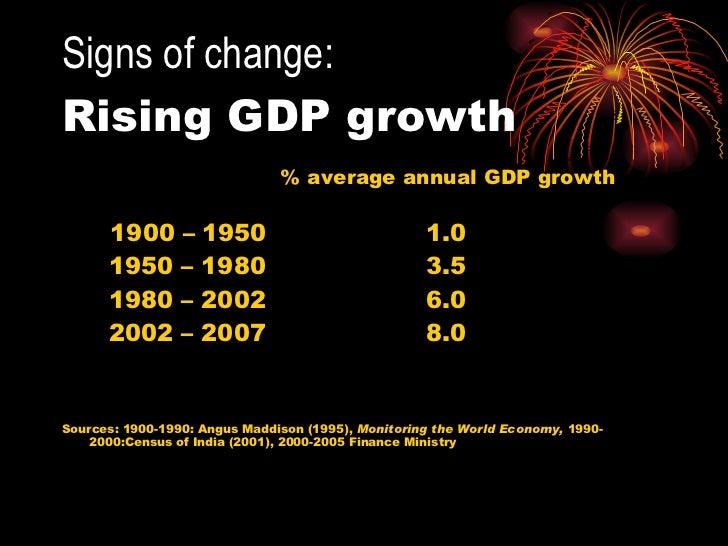 Signs of change:   Rising GDP growth  <ul><li>% average annual GDP growth </li></ul><ul><li>1900 – 1950 1.0  </li></ul><ul...