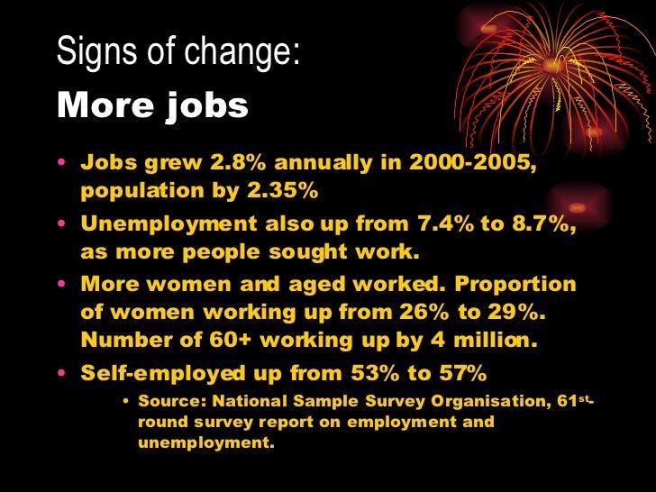 Signs of change:   More jobs <ul><li>Jobs grew 2.8% annually in 2000-2005, population by 2.35% </li></ul><ul><li>Unemploym...