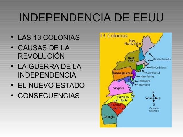 INDEPENDENCIA DE EEUU• LAS 13 COLONIAS• CAUSAS DE LA  REVOLUCIÓN• LA GUERRA DE LA  INDEPENDENCIA• EL NUEVO ESTADO• CONSECU...