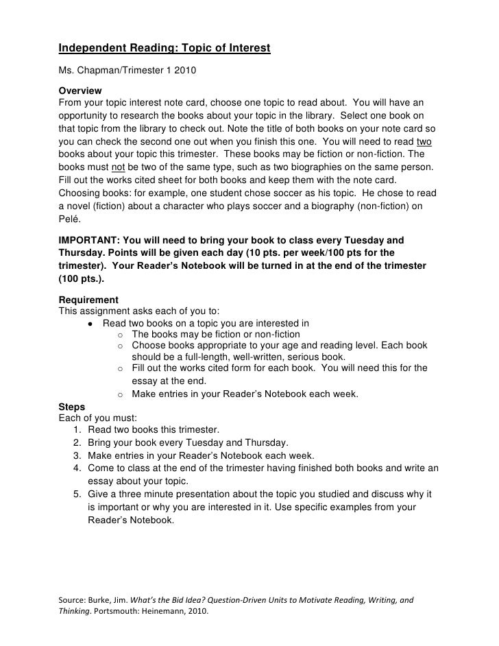 independent reading essay presentation assignment