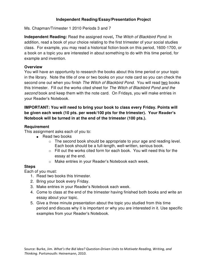 independent reading essay presentation assignment independent reading essay presentation project<br >ms chapman trimester