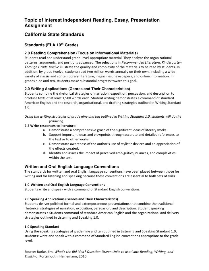 independent reading essay presentation assignment intructions 4