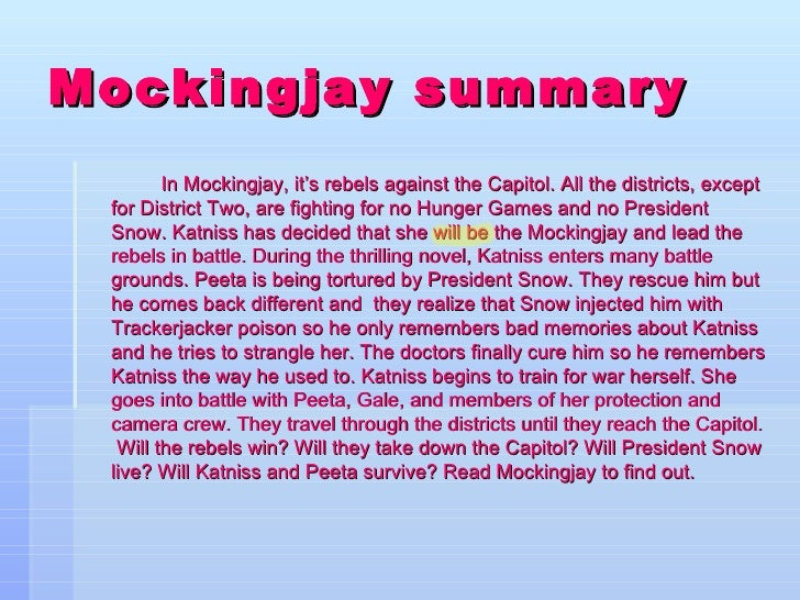 what is the plot of mockingjay