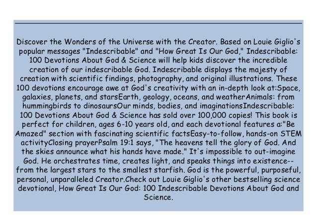 """Discover the Wonders of the Universe with the Creator. Based on Louie Giglio's popular messages """"Indescribable"""" and """"How G..."""