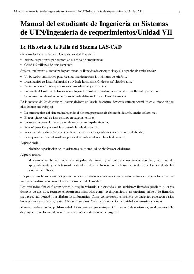 Manual del estudiante de Ingeniería en Sistemas de UTN/Ingeniería de requerimientos/Unidad VII                            ...