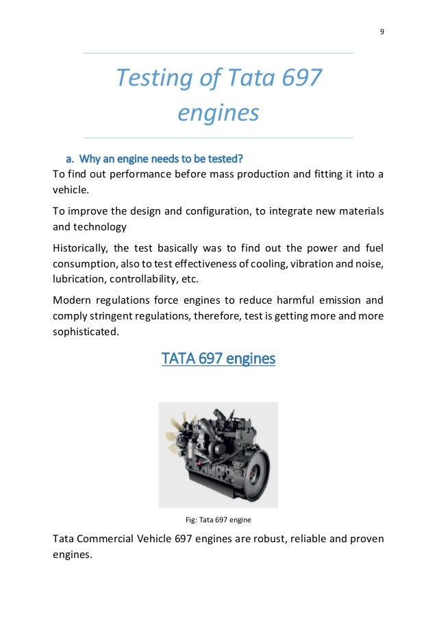 Study of Engine Testing Lab and Engine Testing of TATA 697 series Eng…