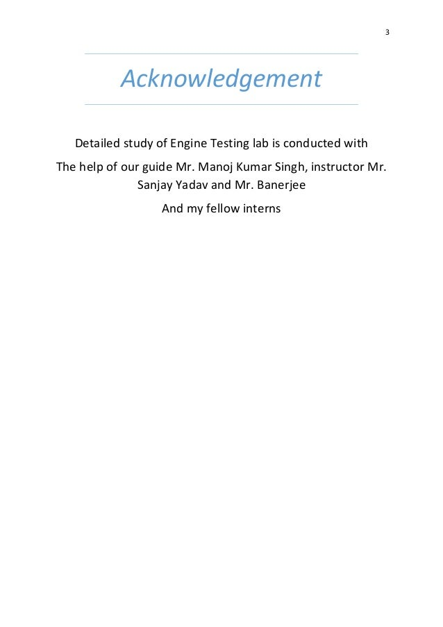 Study of Engine Testing Lab and Engine Testing of TATA 697