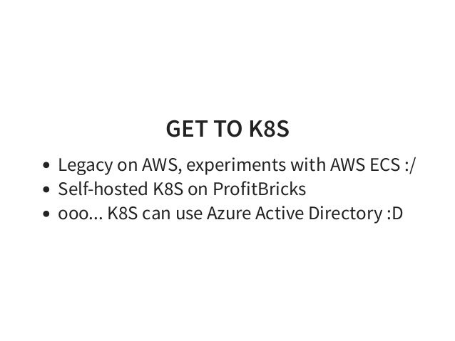 Effective Kubernetes Move configuration to runtime Do not terrorize your devs with K8S No free lunch... app must be smarter