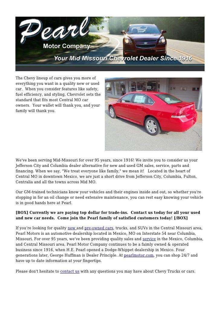 Chevy Dealer Jefferson City Mo >> Pearl Motor Company Mid Missouri Chevy Dealer