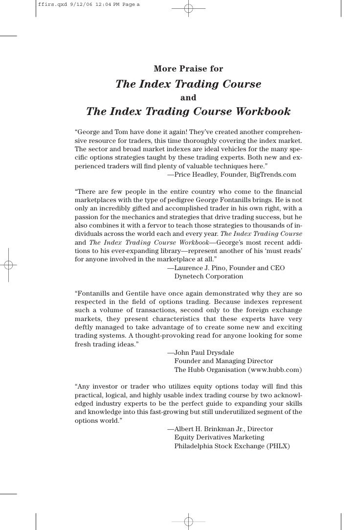Index options trading course