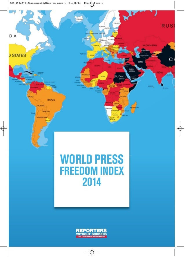 WORLD PRESS FREEDOM INDEX 2014 RSF_190x270_Classement4:Mise en page 1 31/01/14 15:47 Page 1