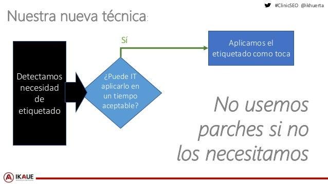 #ClinicSEO @ikhuerta Nuestra nueva técnica: Detectamos necesidad de etiquetado ¿Puede IT aplicarlo en un tiempo aceptable?...