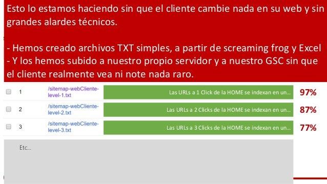 #ClinicSEO @ikhuerta 97% 87% 77% Etc… Esto lo estamos haciendo sin que el cliente cambie nada en su web y sin grandes alar...