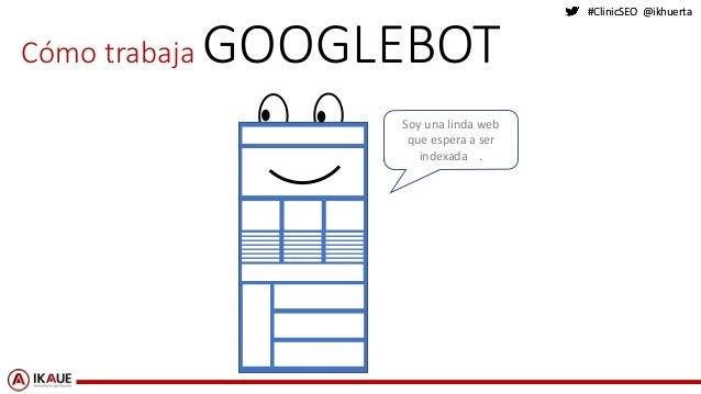 #ClinicSEO @ikhuerta#ClinicSEO @ikhuerta Cómo trabaja GOOGLEBOT Soy una linda web que espera a ser indexada .