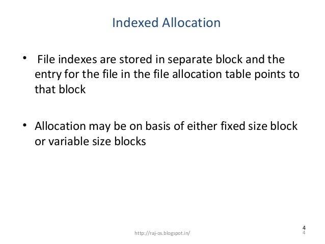 Index allocation 48 1