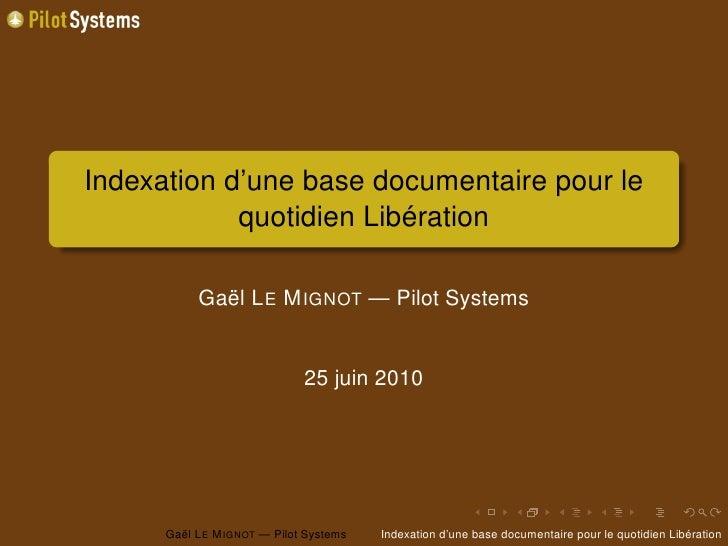 Indexation d'une base documentaire pour Liberation