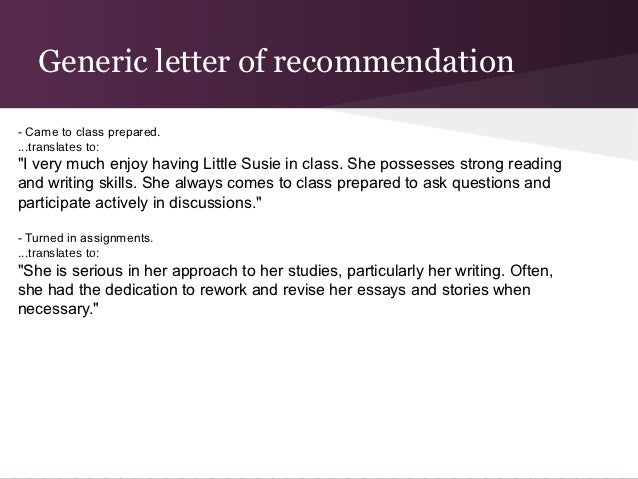 College Recommendation Letter Process – Generic Letter of Recommendation