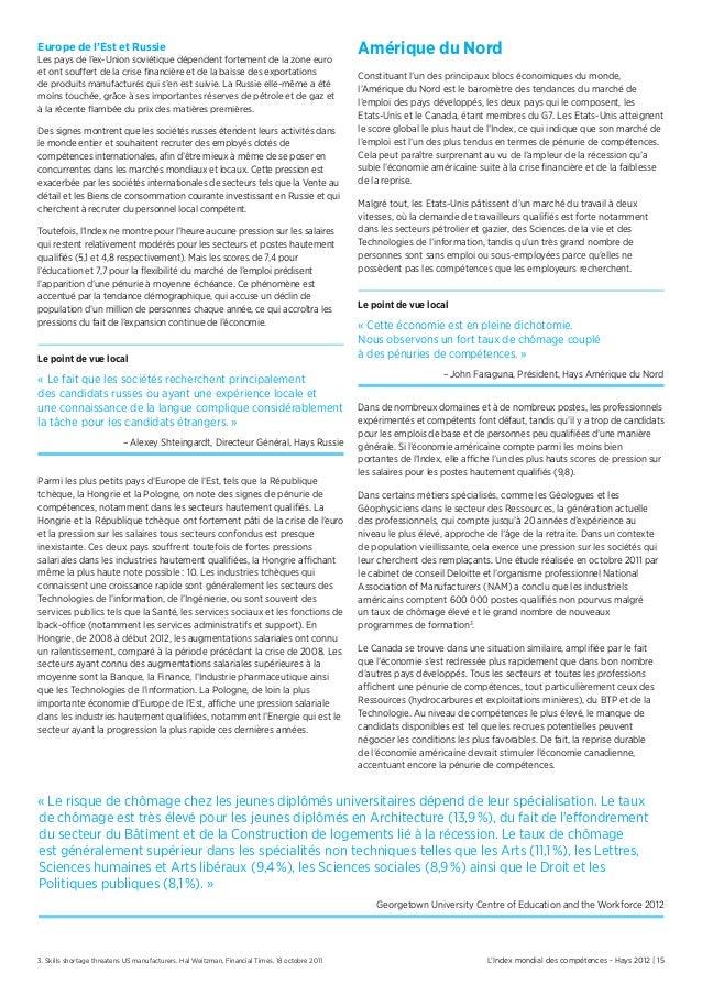 L'Index mondial des compétences - Hays 2012 | 15Europe de l'Est et RussieLes pays de l'ex-Union soviétique dépendent forte...
