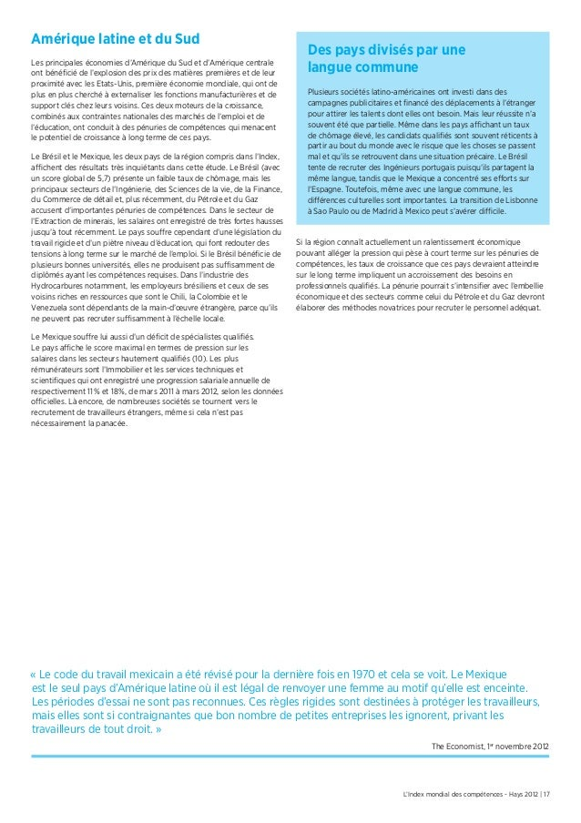 L'Index mondial des compétences - Hays 2012 | 17Amérique latine et du SudLes principales économies d'Amérique du Sud et d'...