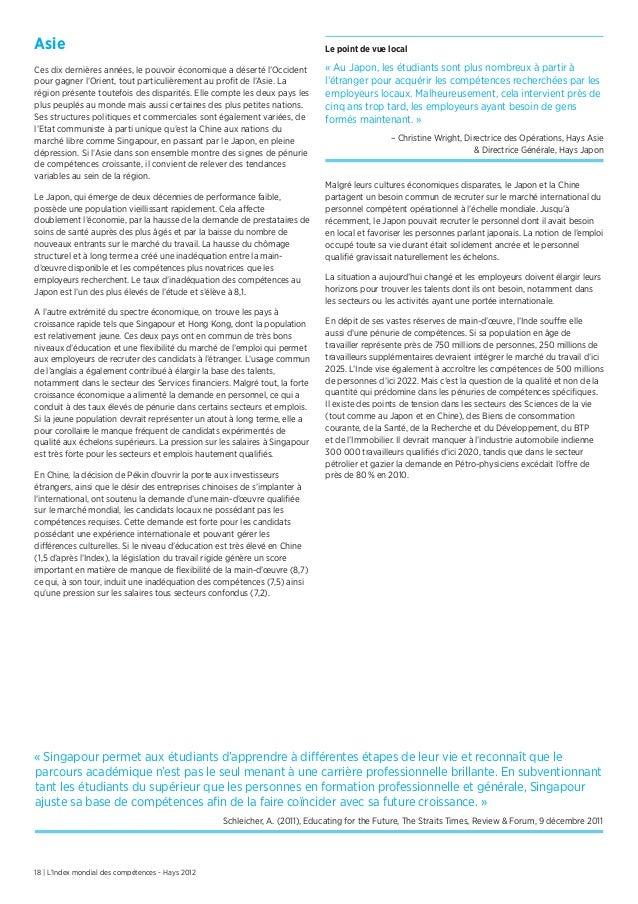 18 | L'Index mondial des compétences - Hays 2012AsieCes dix dernières années, le pouvoir économique a déserté l'Occidentpo...