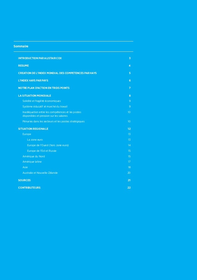 SommaireIntroduction PAR ALISTAIR COX 3RESUME 4CrEATION DE L'INDEX MONDIAL DES COMPETENCES PAR HAYS 5L'INDEX HAYS PAR P...