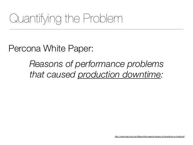 Quantifying the Problem Percona White Paper: Reasons of performance problems that caused production downtime: 38% bad SQL...