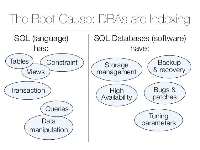 The Root Cause: DBAs are Indexing Backup & recovery Storage management Bugs & patches Tuning parameters Transaction Constr...