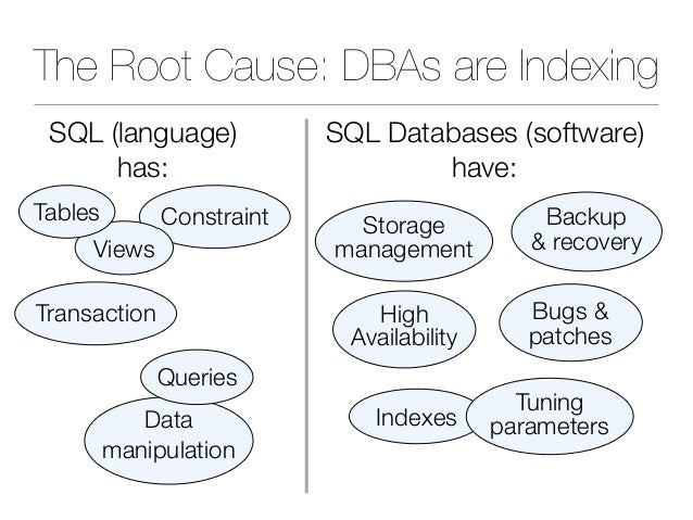 The Root Cause: DBAs are Indexing Indexes Backup & recovery Storage management Bugs & patches Tuning parameters Transactio...