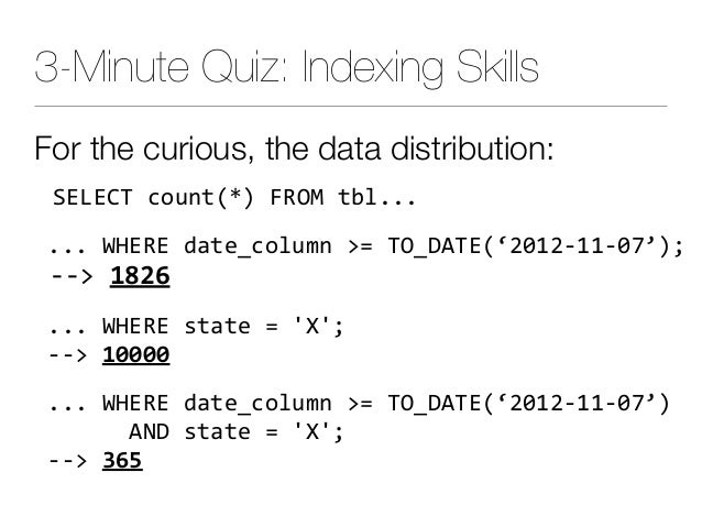 3-Minute Quiz: Indexing Skills For the curious, the data distribution: SELECTcount(*)FROMtbl... ...WHEREdate_colu...