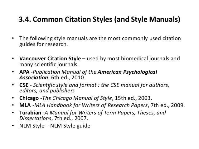 dissertation citation styles