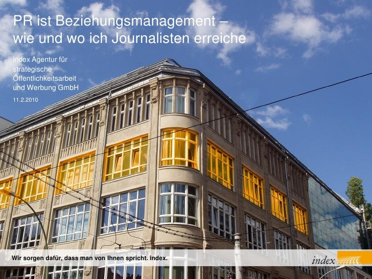 Kommunikationsseminar - Vortrag Agentur index - Beziehungsmanagement