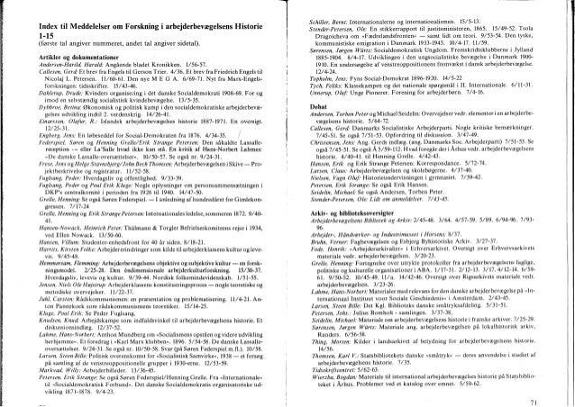 æ.:- _ W-._-m____.___- __ . 4 ._ . .. i- Index til Meddelelser om Forskning'i arbejderbevægelsens Historie 1-15 (første ta...