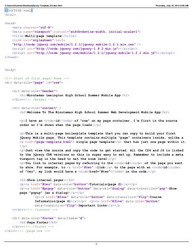 C:UsersSummerDesktopjQuery Template 2index.html Thursday, July 18, 2013 9:00 AM <!DOCTYPE html> <html> <head> <meta charse...