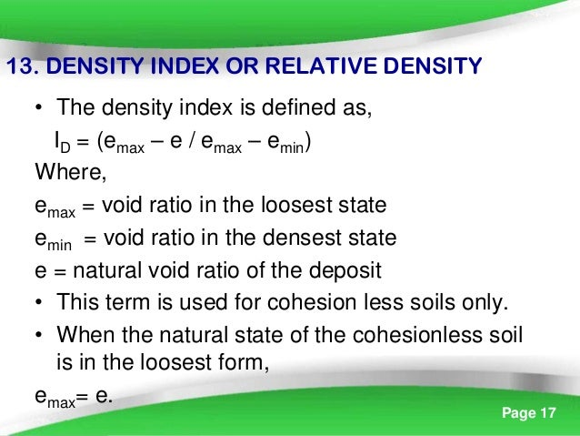 Index property of soil