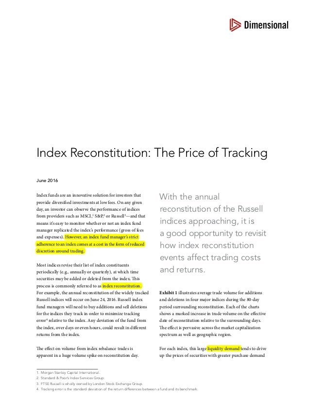 With the annual reconstitutionof the Russell indices approaching, it is agood opportunity to revisit how index reconstit...