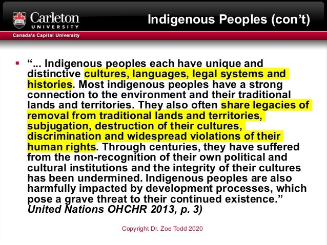 """Indigenous Peoples (con't) § """"... Indigenous peoples each have unique and distinctive cultures, languages, legal systems a..."""