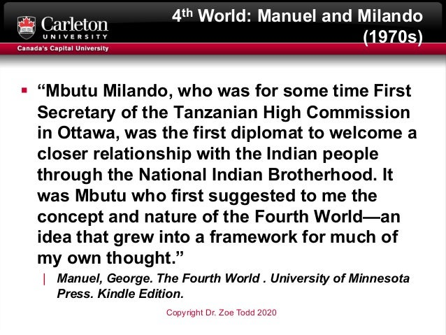 """4th World: Manuel and Milando (1970s) § """"Mbutu Milando, who was for some time First Secretary of the Tanzanian High Commis..."""