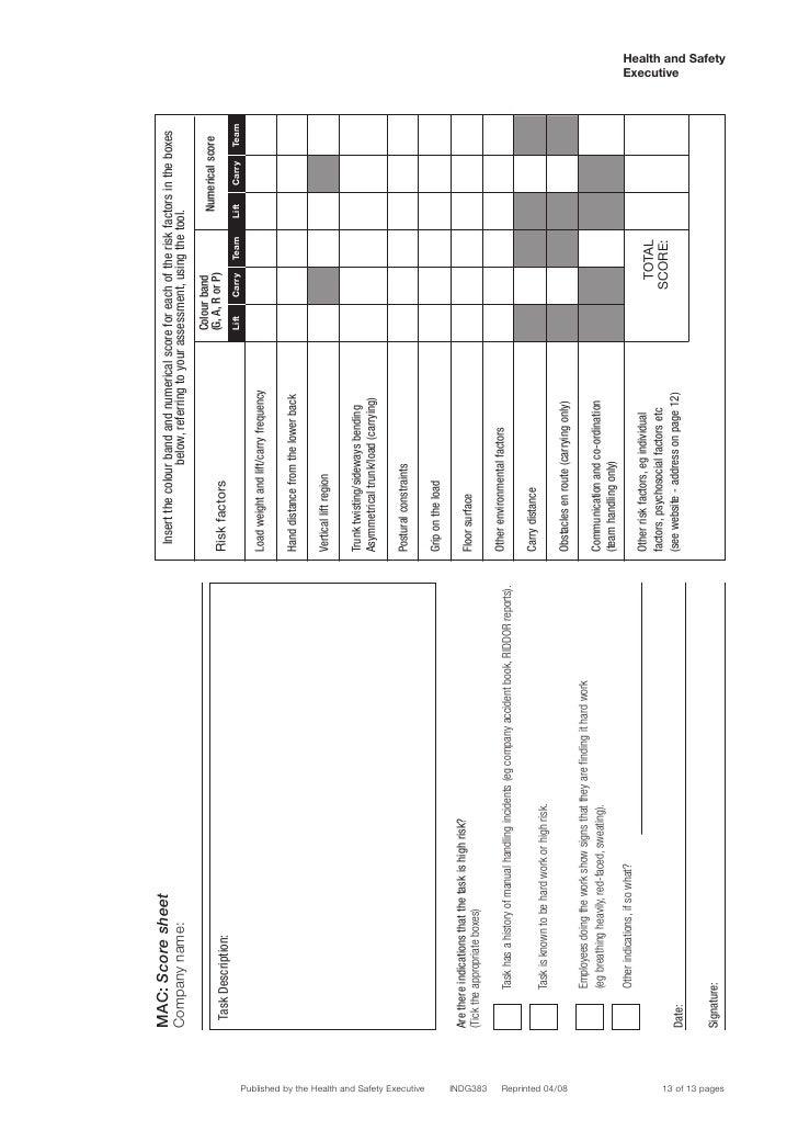 Manual Handling Assessment Charts Indg383 – Manual Handling Risk Assessment