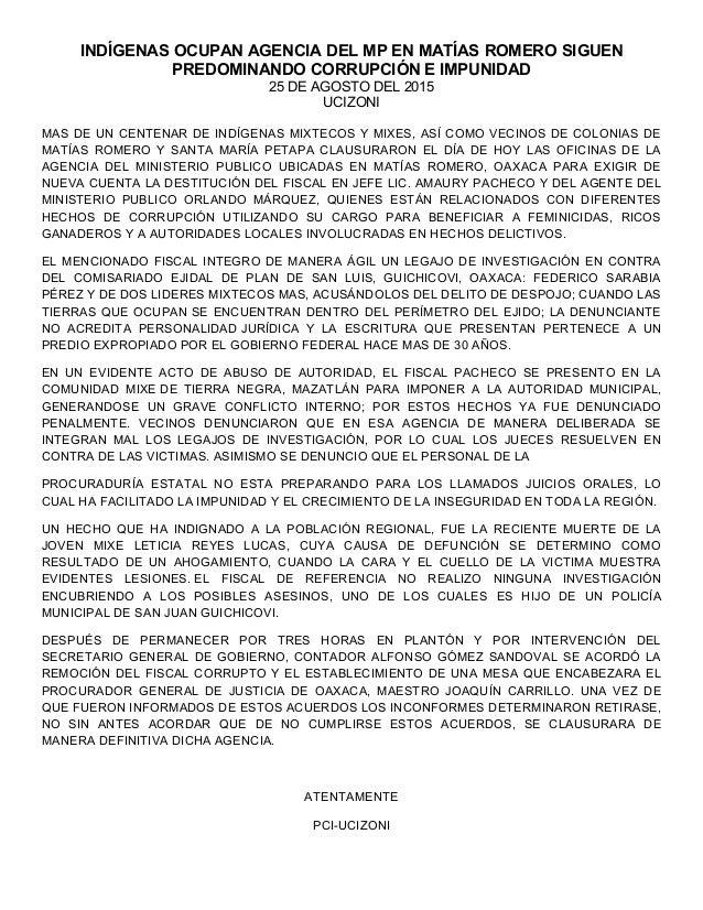 INDÍGENAS OCUPAN AGENCIA DEL MP EN MATÍAS ROMERO SIGUEN PREDOMINANDO CORRUPCIÓN E IMPUNIDAD 25 DE AGOSTO DEL 2015 UCIZONI ...