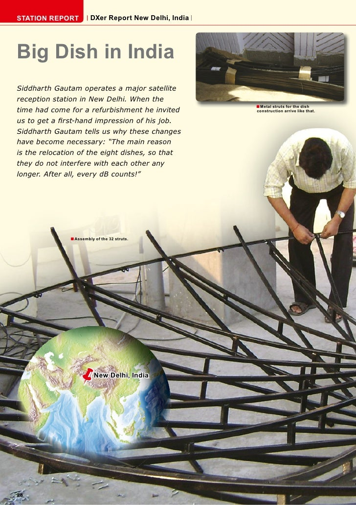 STATION REPORT          DXer Report New Delhi, India     Big Dish in India Siddharth Gautam operates a major satellite rec...