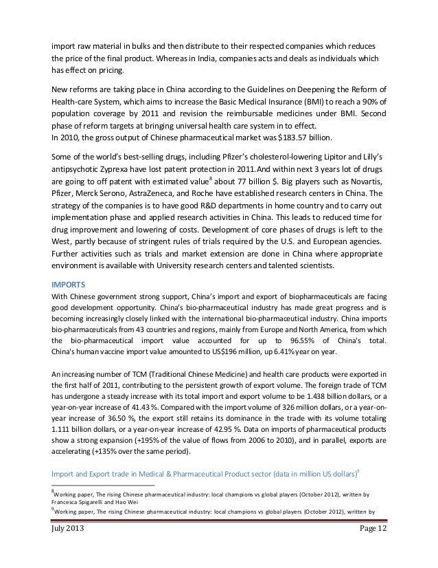 INDIA CHINA PHARMACEUTICAL TRADE A COMPREHENSIVE STUDY