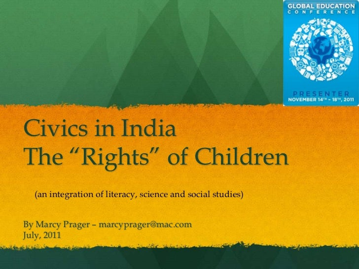 """Civics in IndiaThe """"Rights"""" of Children  (an integration of literacy, science and social studies)By Marcy Prager – marcypr..."""