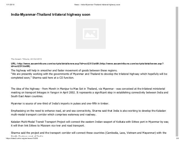 India-Myanmar-Thailand Trilateral Highway: A Promise to