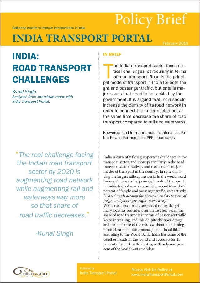 India: Road Transport Challenges, by Kumal Singh