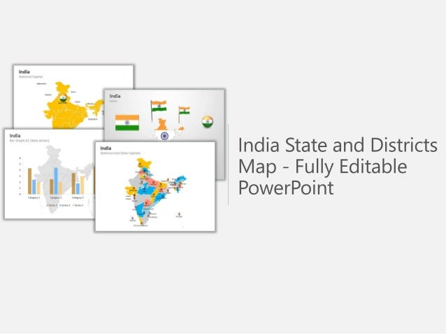 India state and districts map fully editable powerpoint for India map ppt template